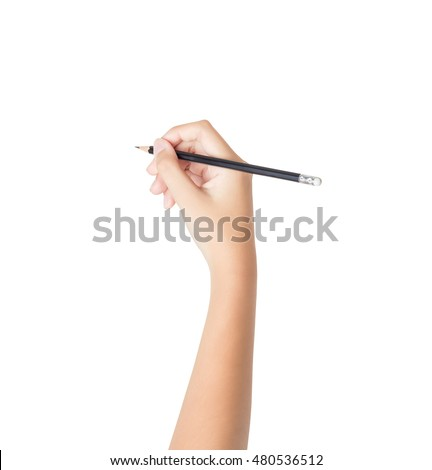 Female hand with pencil isolated on white background, clipping path inside