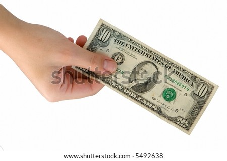 Female hand with ten dollars on a white background.