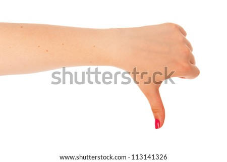 Female hand with thumbs down