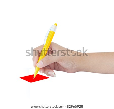 Female hand with yellow pen over white background