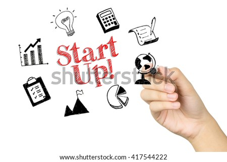 Female Hand Writing Elements of Starting a New Business on White Background - stock photo