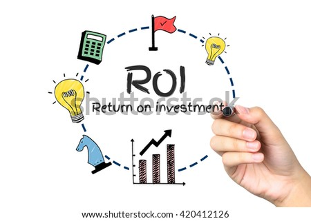 """Female Hand Writing """"ROI""""  Business Concept on White Background - stock photo"""