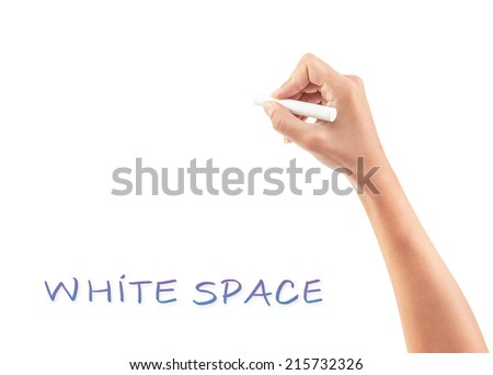 Female hand writing something on white copy space, body part, place for advertisement concept - stock photo