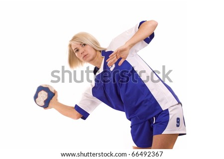 Female handball player with a shooting pose - stock photo