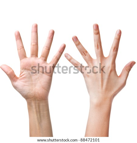 Female hands counting number five - stock photo