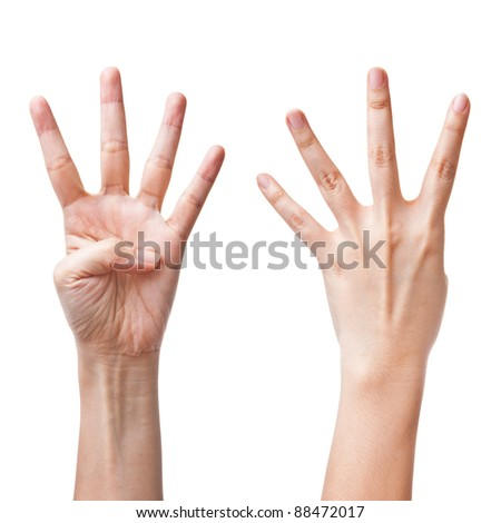 Female hands counting number four