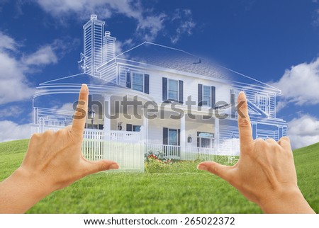 Female Hands Framing Beautiful Custom House Design Drawing and Ghosted House Above Grass Field. - stock photo