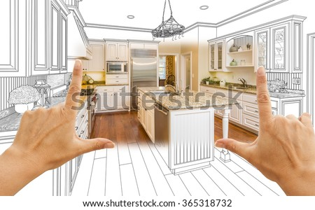 Female Hands Framing Custom Kitchen Design Drawing and Square Photo Combination. - stock photo