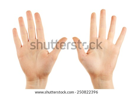 Female hands gesture isolated on white - stock photo