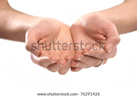 Female hands give something - stock photo