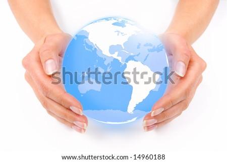 Female hands guarding an earth globe - stock photo