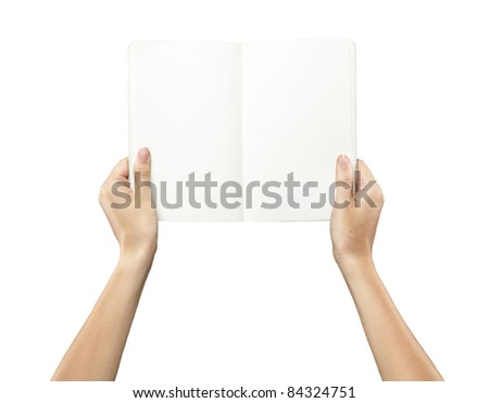 Female hands holding a blank white notebook.Isolated on a white background - stock photo