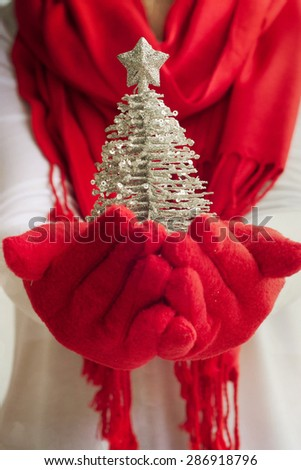Female hands holding a christmas decoration - stock photo