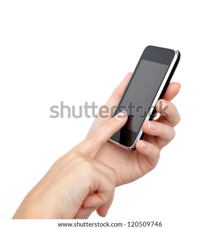 female hands holding a phone and touches the screen