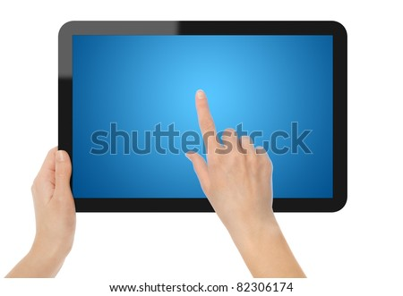 Female hands holding and point on touch screen tablet. Include clipping path for hands, tablet and screen. - stock photo