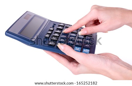 Female hands holding digital calculator isolated on white