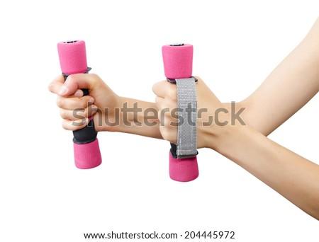Female hands holding dumbbells isolated on white background - stock photo