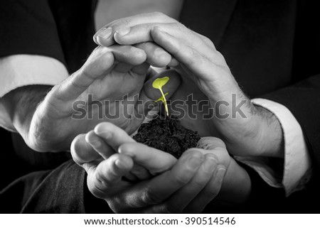 Female hands holding fertile soil from which a green sprout is growing and male hands making protective gesture above it. Conceptual of protection, teamwork and business start up. - stock photo