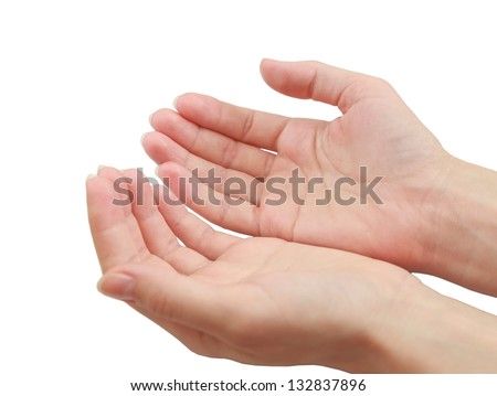 Female hands holding or giving something isolated on white background - stock photo