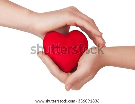 Female hands holding red heart isolated on white background - stock photo