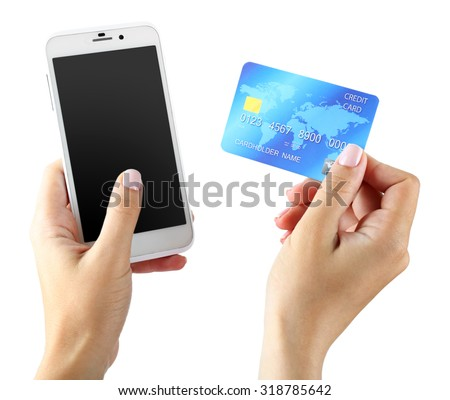 Female hands holding smartphone and credit card, isolated on white - stock photo