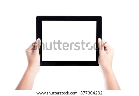 female hands holding tablet computer with isolated screen and background - stock photo