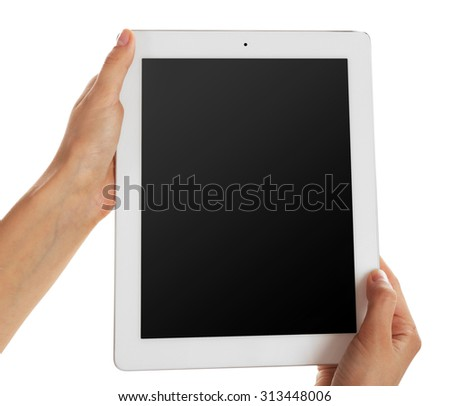 Female hands holding tablet with blank screen isolated on white - stock photo