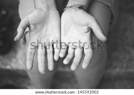 Female hands in black and white - stock photo