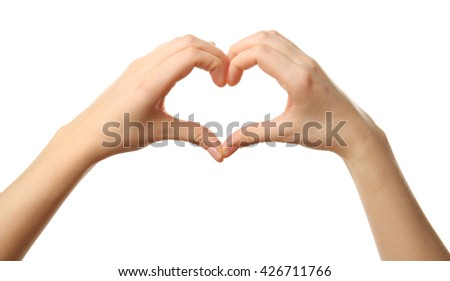 Female hands in heart shape on white background