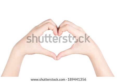 Female hands in the form of heart isolated on white background.