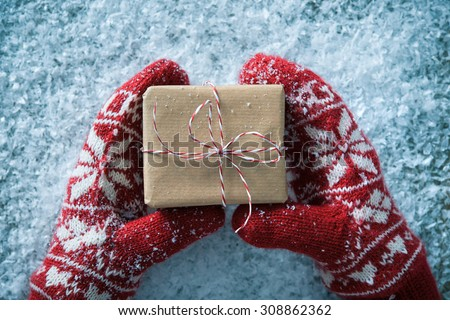 Female hands in winter gloves with christmas gift box - stock photo