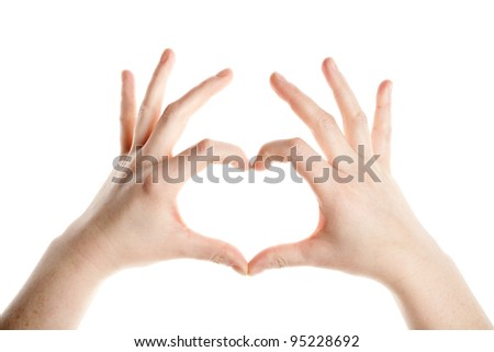 Female hands making heart sign isolated on white background