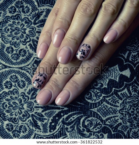 Female hands, nails with beautiful Art manicure  - stock photo