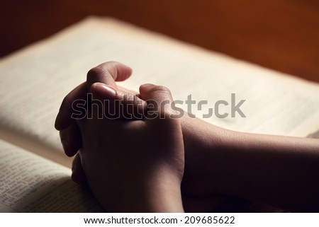 Female hands on Bible - stock photo