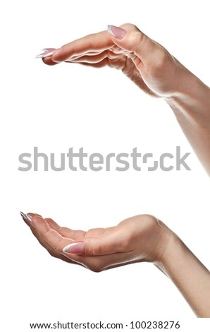 Female hands open. Isolated on white background - stock photo
