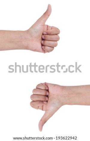 female  hands,thumb up ,thumb down ,loke , dislike, isolated on white - stock photo