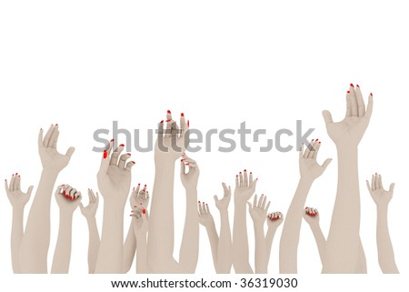 Female hands up. On white background.