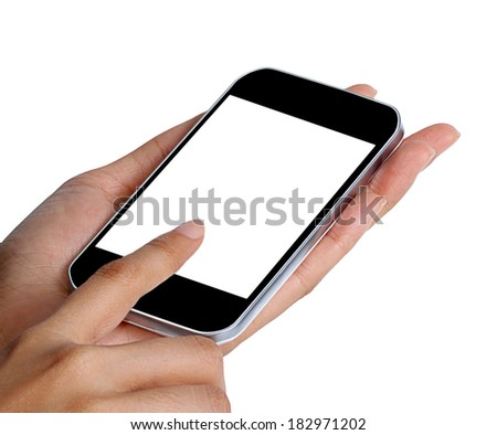 female hands using a mobile phone isolated on white background   - stock photo