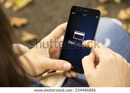 Female hands using smart phone for online shopping - stock photo