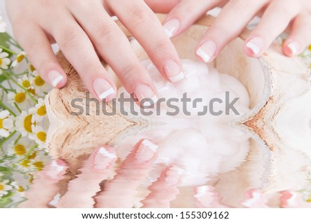 Female hands with a bowl of lotion - stock photo