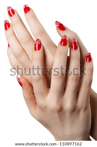 Female hands with French manicure. It is isolated on a white background - stock photo