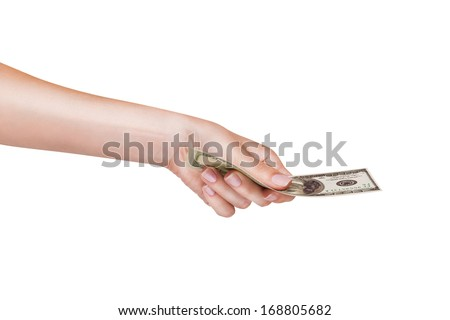 Female hands with money dollars isolated on a white background - stock photo