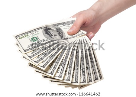 female hands with money isolated on a white background - stock photo