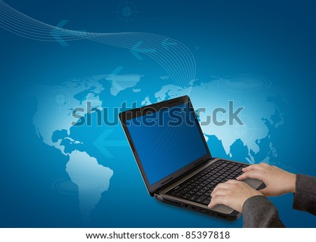 Female hands writing on laptop - stock photo