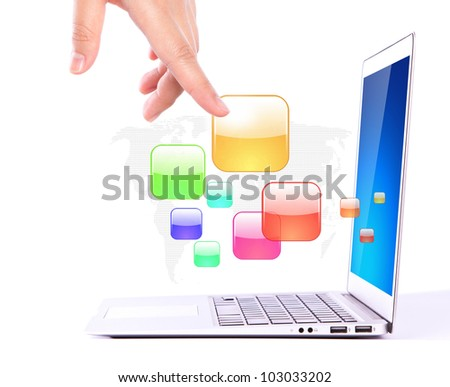 Female hands writing on laptop with colorful application icons - stock photo
