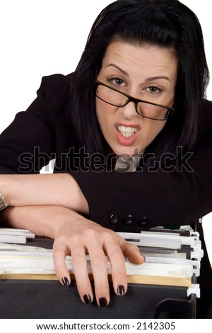 Female hanging over file looking exhausted - stock photo