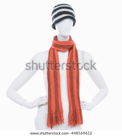female hat with scarf s on n mannequin-    - stock photo