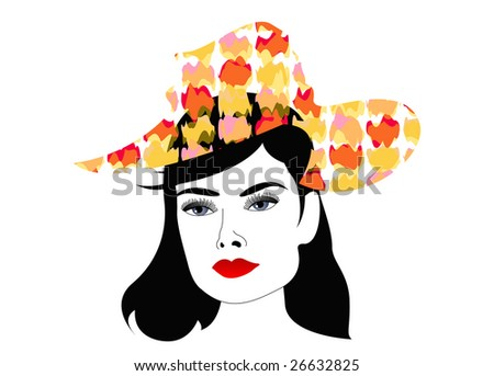 female head with fashionable hat