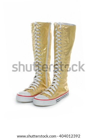 female high boots on the white background - stock photo