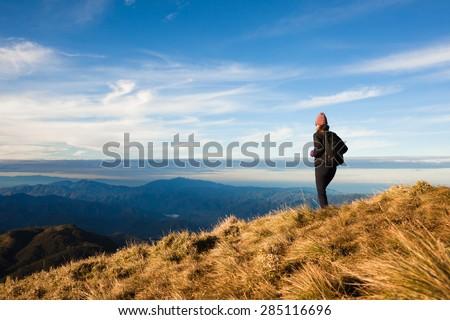 Female hiking - stock photo
